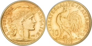 1899 French Piefort 10 Francs Gold Coin
