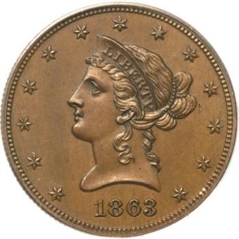1863 $10 Ten Dollar, Judd-350, Pollock-422, Low R.6