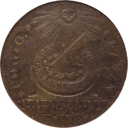 1787 Fugio Cent, STATES UNITED, 1 over Horizontal 1