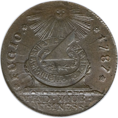1787 Fugio Cent, STATES UNITED, 4 Cinquefoils, Pointed Rays