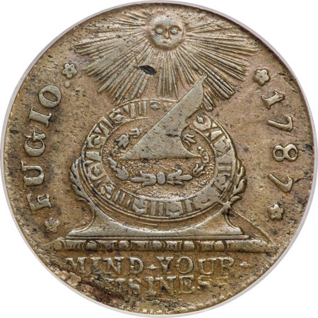 1787 Fugio Cent, STATES UNITED, Eight-Pointed Stars