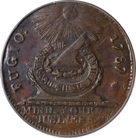 1787 Fugio Cent, STATES UNITED, No Cinquefoils