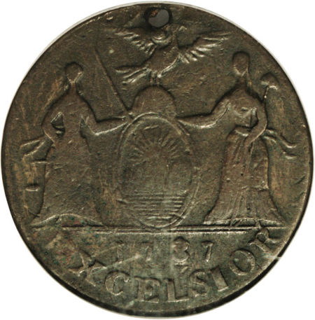 1787 New York Excelsior Copper Indian and New York Arms