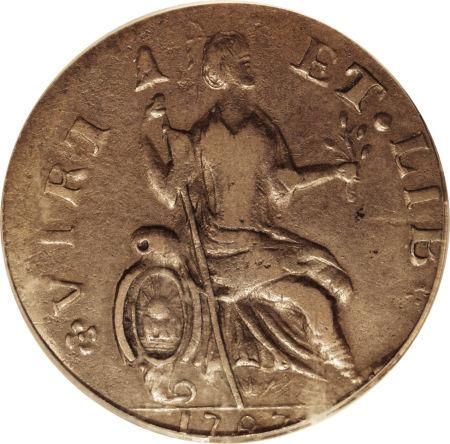 Us 1787 Nova Eborac Coin New York Imitation British Halfpence