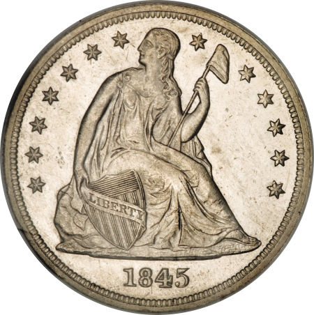 1845 Seated Liberty Dollar