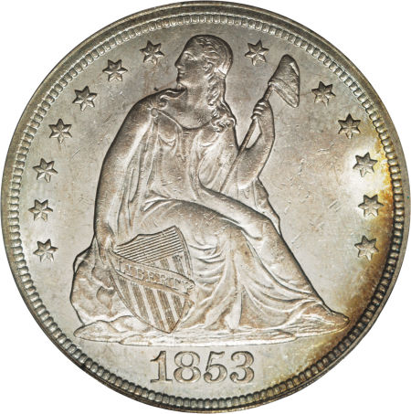 1853 Seated Liberty Dollar