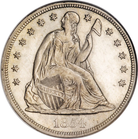 1854 Seated Liberty Dollar Coin Value Facts