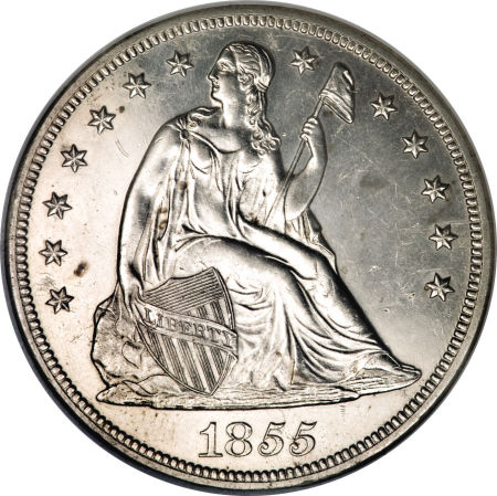 1855 Seated Liberty Dollar Coin Value Facts