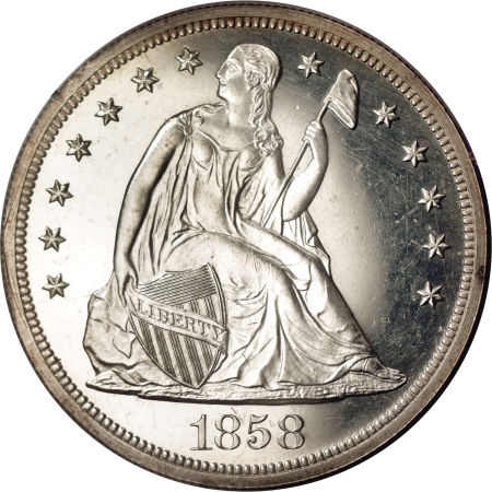 1858 Seated Liberty Dollar Coin Value Facts