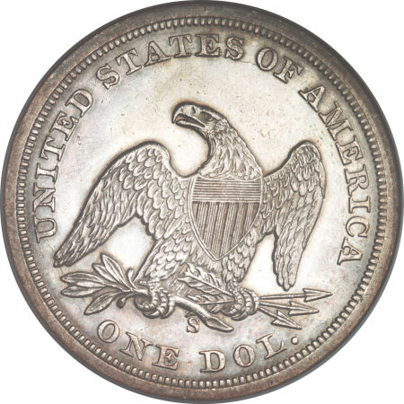 1859 S Seated Liberty Dollar Coin Value Facts