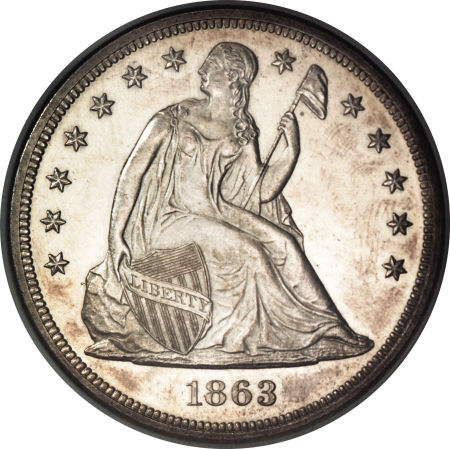 1863 Seated Liberty Dollar Coin Value Facts