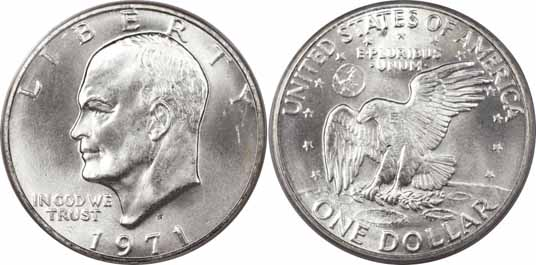 1971 S 40 Silver Eisenhower Dollar Values Facts