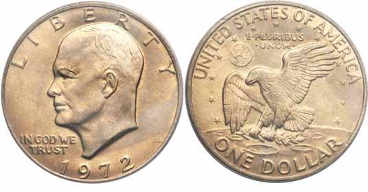 1972 Eisenhower Dollar Image Values
