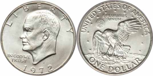 1972 S 40 Silver Eisenhower Dollar Values Facts