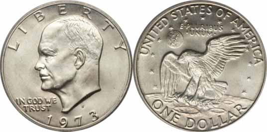 1973-S 40% Silver Eisenhower Dollar Image Values