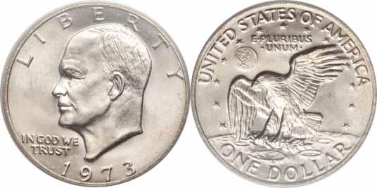 1973 Eisenhower Dollar Image Values