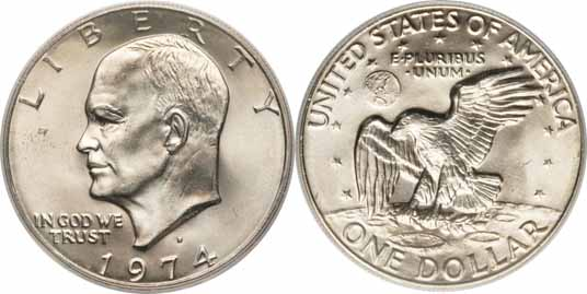 1974 D Eisenhower Dollar Values Facts
