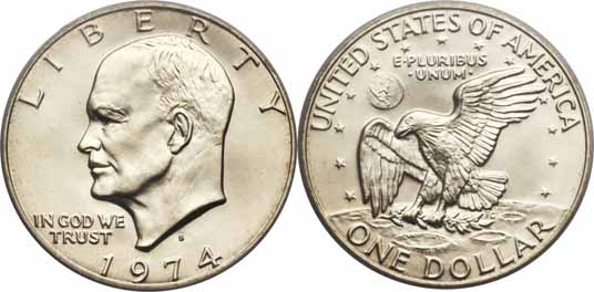 1974-S 40% Silver Eisenhower Dollar Image Values
