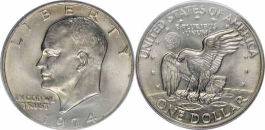 1974 Eisenhower Dollar Image Values