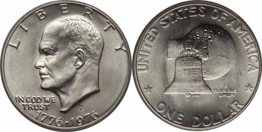1776-1976-D 40% Silver Eisenhower Dollar Image Values