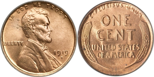 Copper Lincoln Wheat Cent no mint 1919