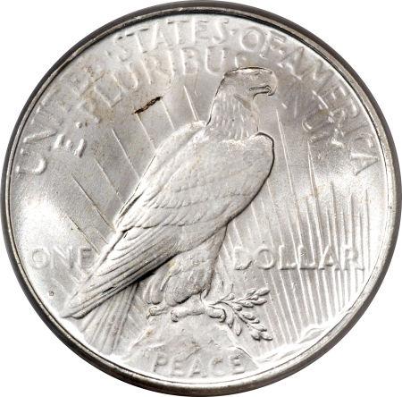1923-D Peace Dollar Reverse