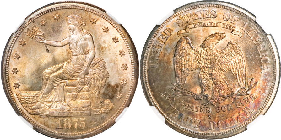 1875 S Trade Dollar Silver Coin Value Facts