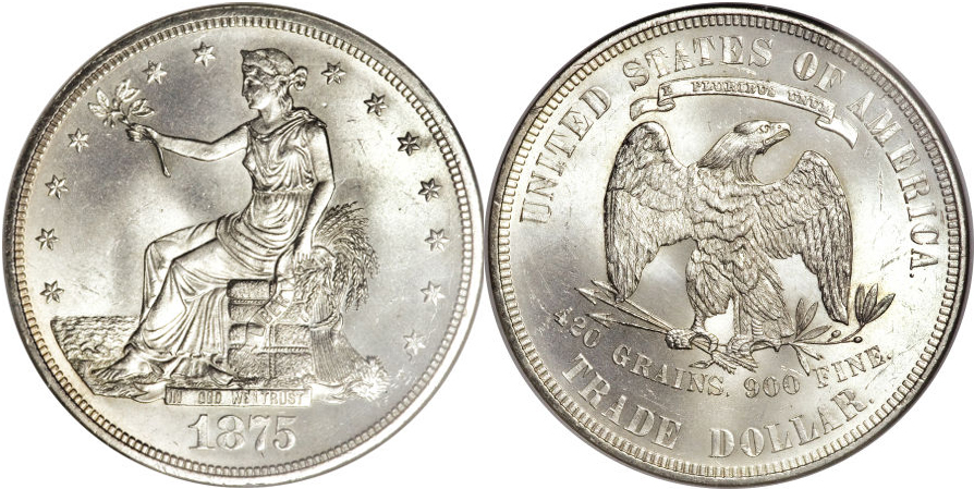 1875 Trade Dollar Silver Coin Value Facts