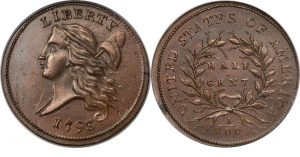 1793 Liberty Cap, Facing Left, Half Cent Value