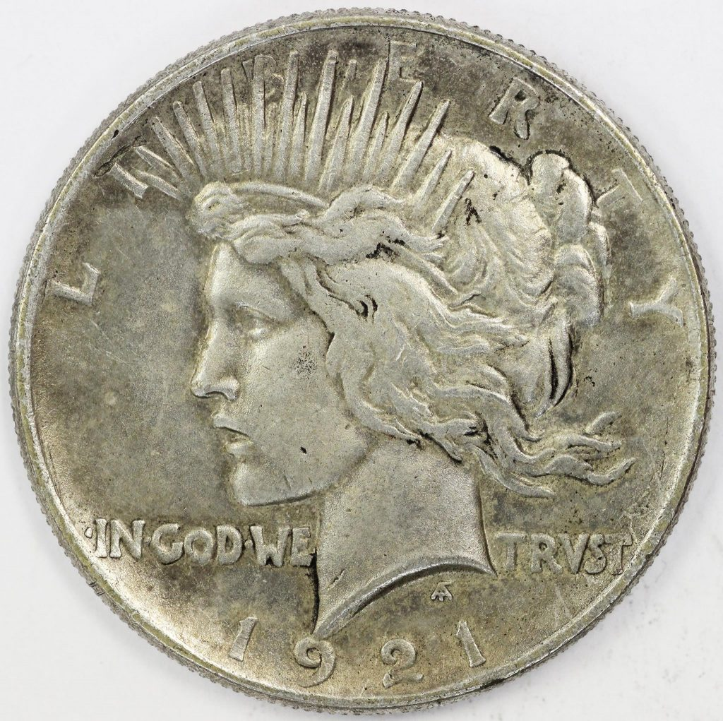 Counterfeit 1921 Peace Dollar Obverse