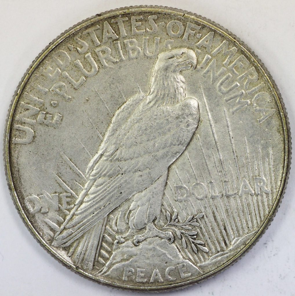 Counterfeit 1921 Peace Dollar Reverse