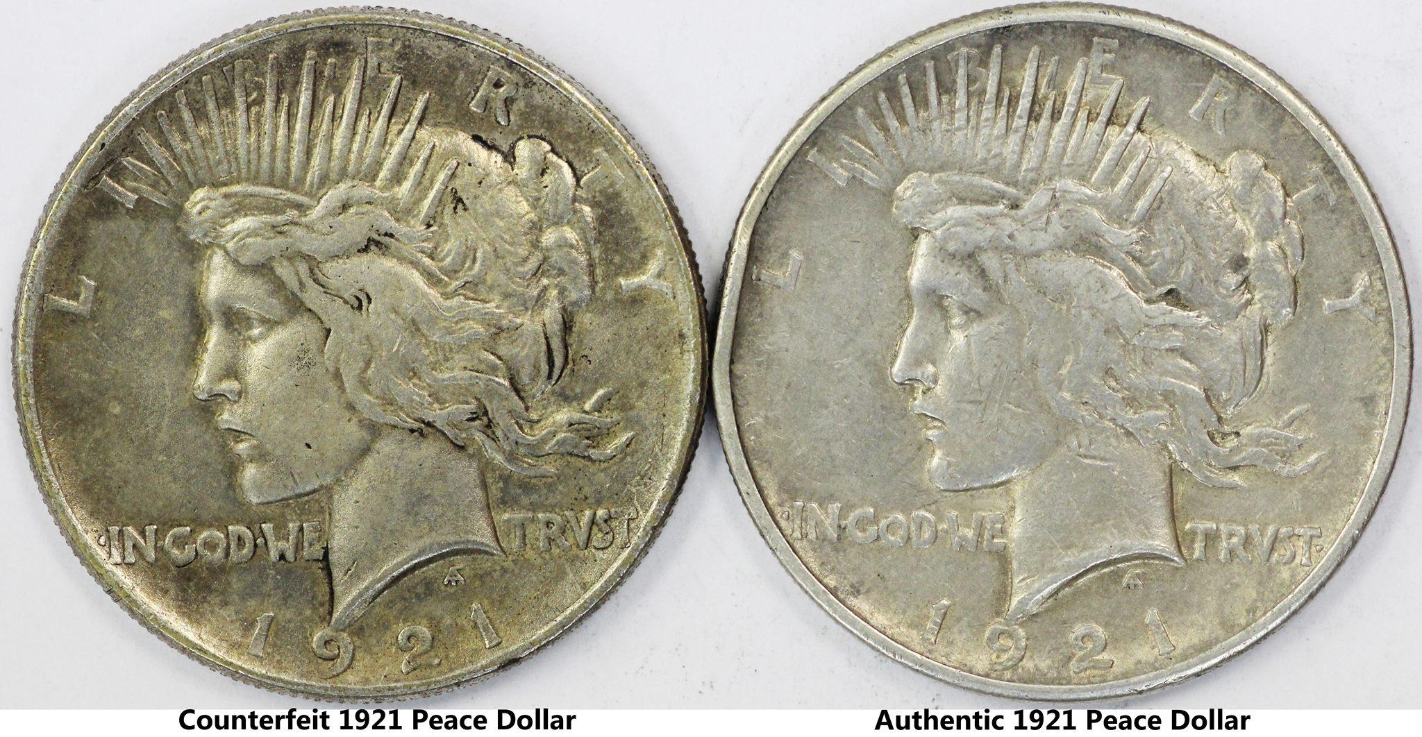 1921 Peace Dollar Counterfeit Coin Help