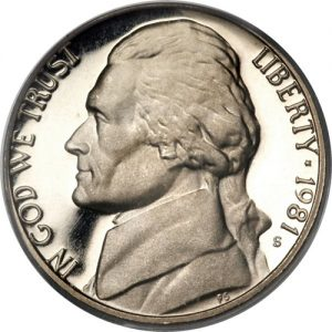 1981-S Jefferson Nickel Value Clear S Type 2