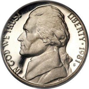 1981-S Jefferson Nickel Value Clear S Type 2