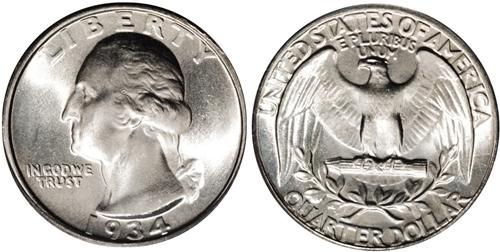 1934 P Washington Quarter Doubled Die Value