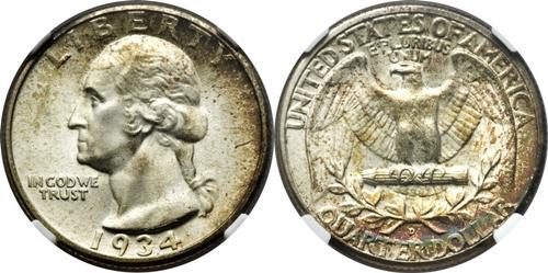 1934 P Washington Quarter Value Heavy Motto