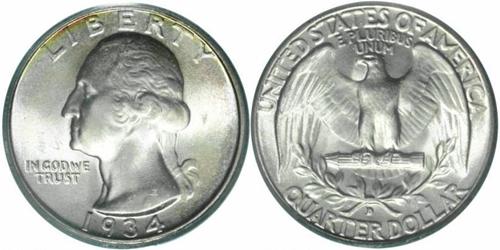 1934-D Washington Quarter Value Heavy Motto