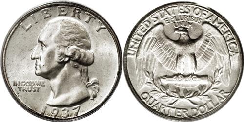 1937 Washington Quarter Value Doubled Die DDO