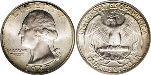 1942 P Washington Quarter Value