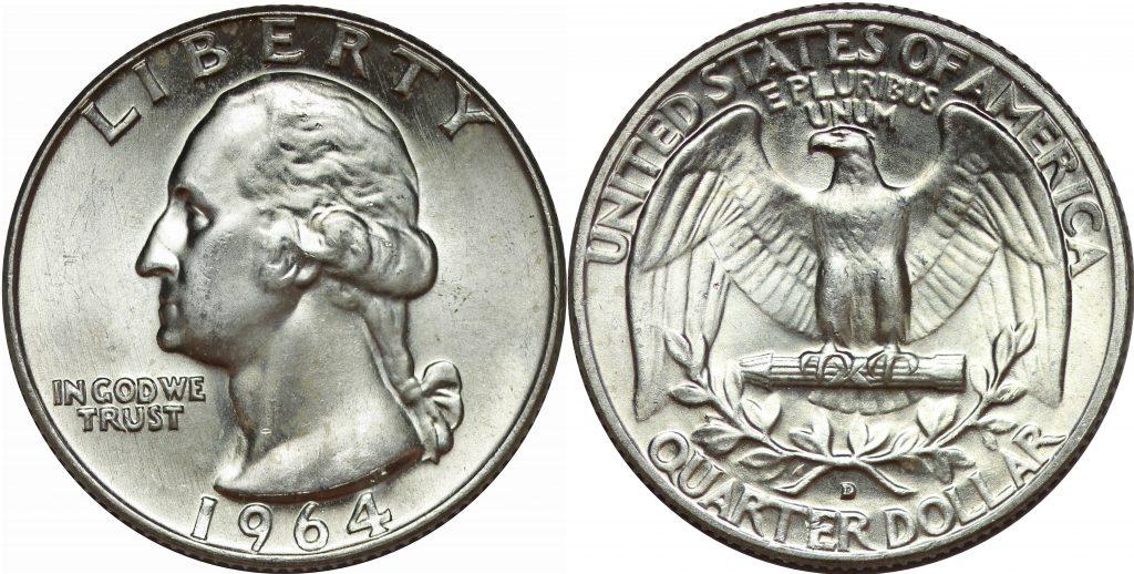 1964 Proof Silver Washington Quarter 90/% Silver