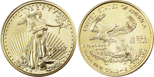 $5 Gold Eagle Value 1/10 th ounce