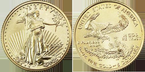 $5 Gold Eagle Value 1/10 th ounce