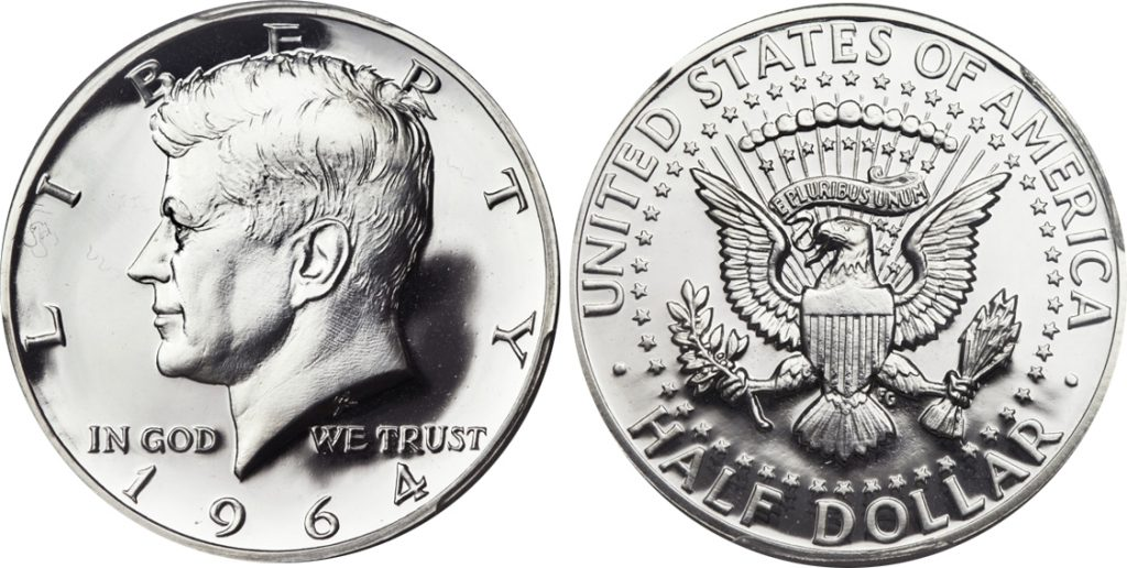 1964 accented hair proof Kennedy Half Dollar value