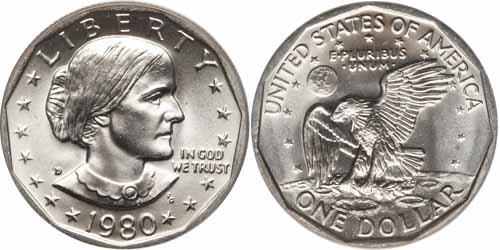 1980 D Susan B Anthony Dollar Value