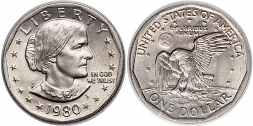 1980 P Susan B Anthony Dollar Value