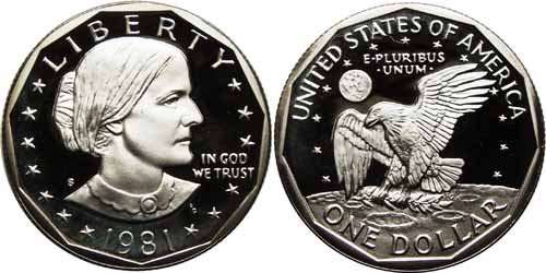 1981 S Proof Susan B Anthony Dollar Value Type 1 Mint Mark