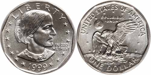 1999 D Susan B Anthony Dollar Value