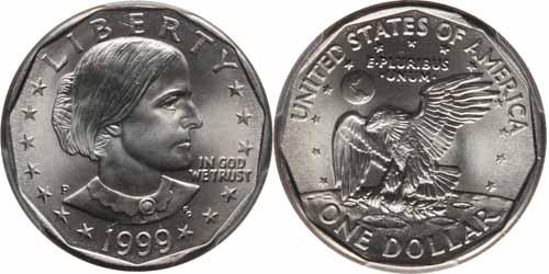 1999 P Susan B Anthony Dollar Value