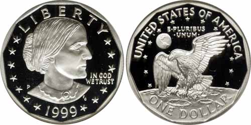 1999 P Proof Susan B Anthony Dollar Value