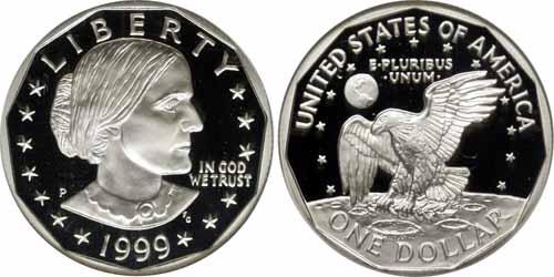 1999 P Proof Susan B Anthony Dollar Value
